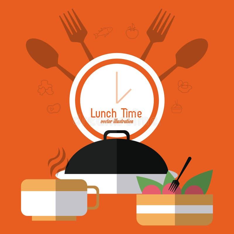 Progettazione di tempo del pranzo Icona del menu Illustrazione piana, vettore editabile illustrazione vettoriale