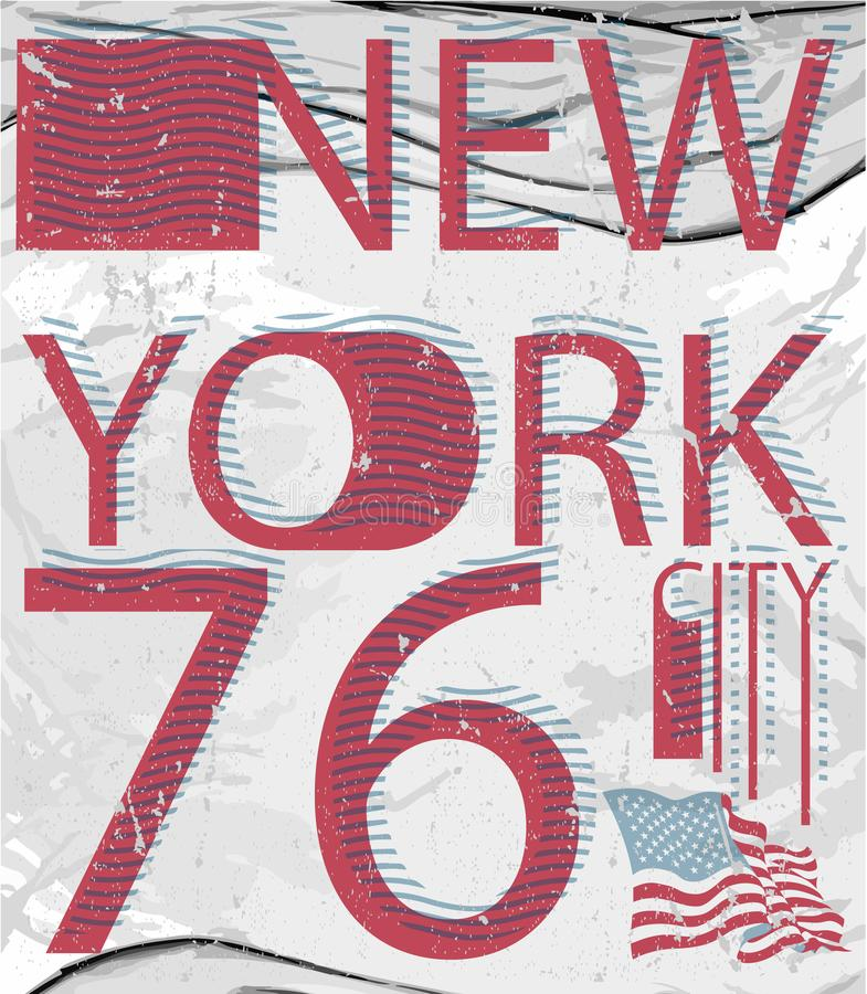 Progettazione di tipografia di arte del T di stile di modo di New York immagine stock libera da diritti