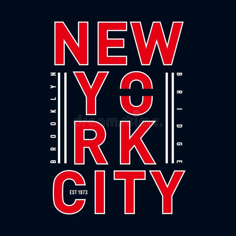Progettazione di tipografia di Brooklyn per la maglietta illustrazione vettoriale