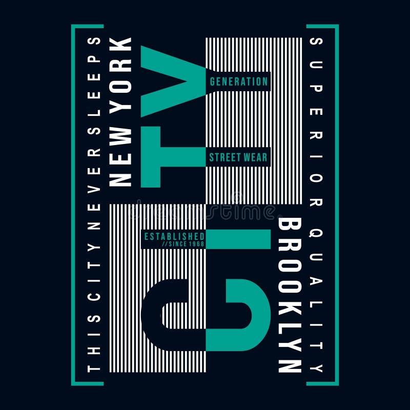 Progettazione di tipografia di Brooklyn per la stampa della maglietta altri usi illustrazione vettoriale