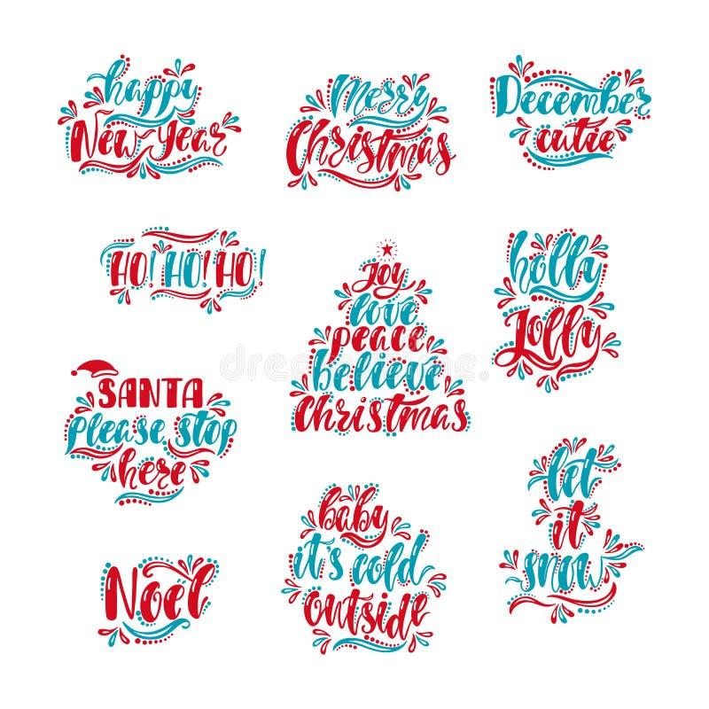 Progettazione di tipografia del buon anno e di Buon Natale Testo disegnato a mano di calligrafia Cartoline d'auguri rosse e blu d illustrazione vettoriale