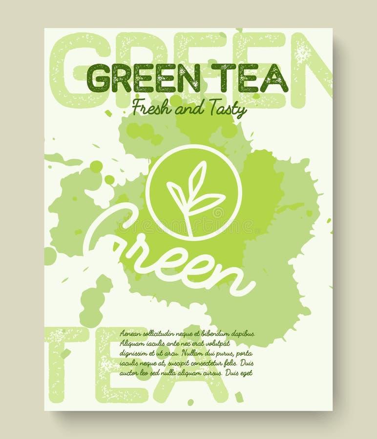 Progettazione di tipografia del manifesto o dell'insegna del tè verde L'illustrazione creativa con tè liquido spruzza royalty illustrazione gratis