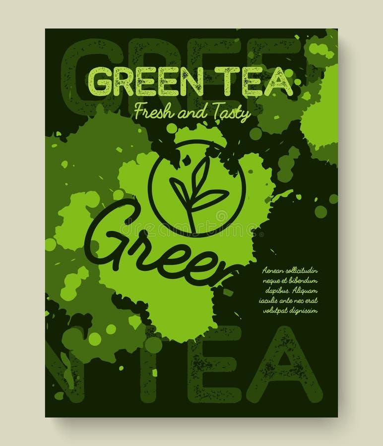 Progettazione di tipografia del manifesto o dell'insegna del tè verde L'illustrazione creativa con tè liquido spruzza illustrazione vettoriale