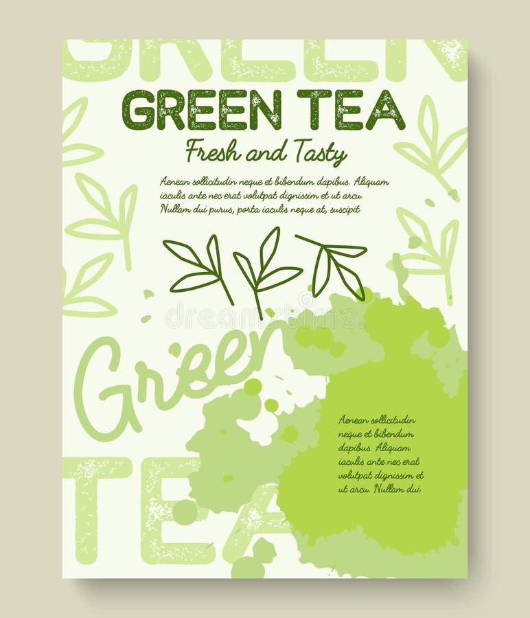 Progettazione di tipografia del manifesto o dell'insegna del tè verde L'illustrazione creativa con tè liquido spruzza illustrazione di stock