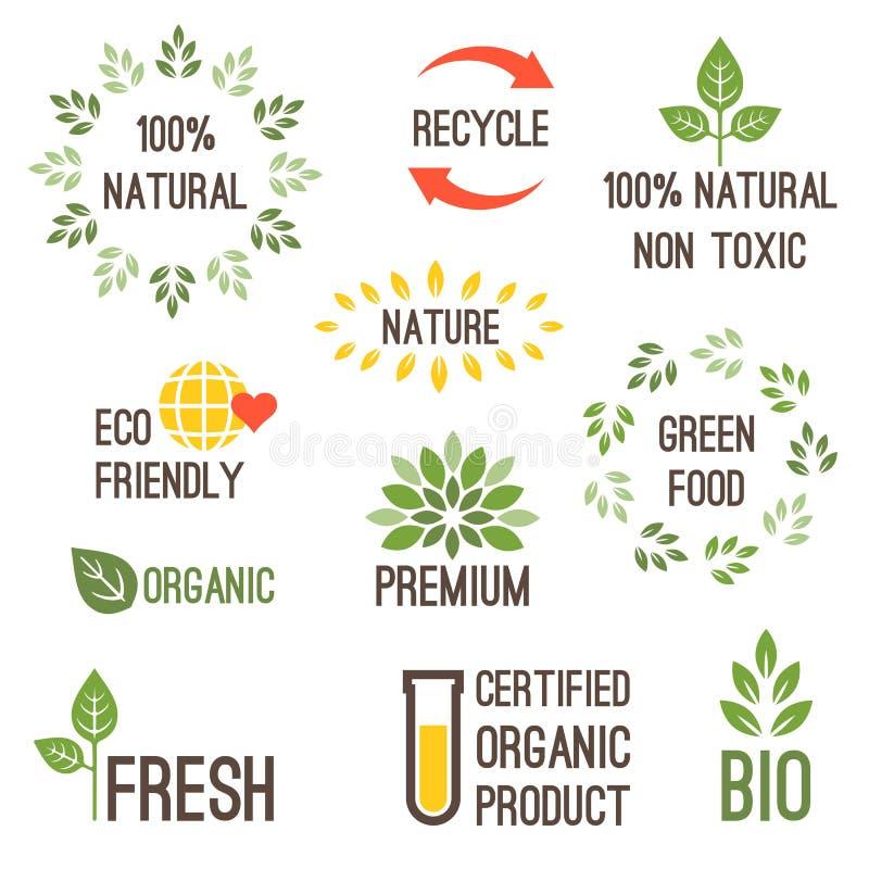 Progettazione di tipografia di vettore per alimento biologico illustrazione di stock