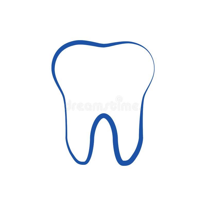 Progettazione di un contorno blu di un dente su un fondo bianco Icona, vettore illustrazione vettoriale