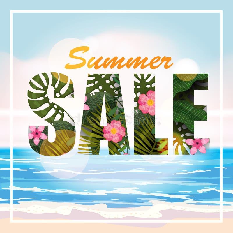Progettazione di un'insegna con un logo della vendita calda di estate Offra per la promozione con le piante tropicali, le foglie  immagine stock
