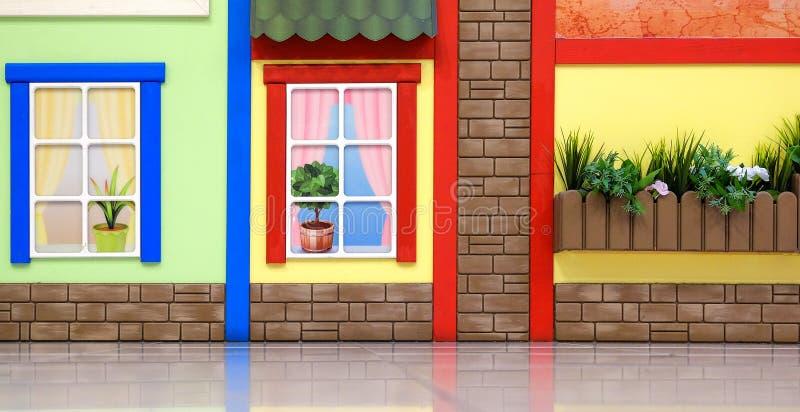 Progettazione di una stanza dei giochi del ` s dei bambini Motivi variopinti luminosi di fiaba Contro la parete fotografia stock