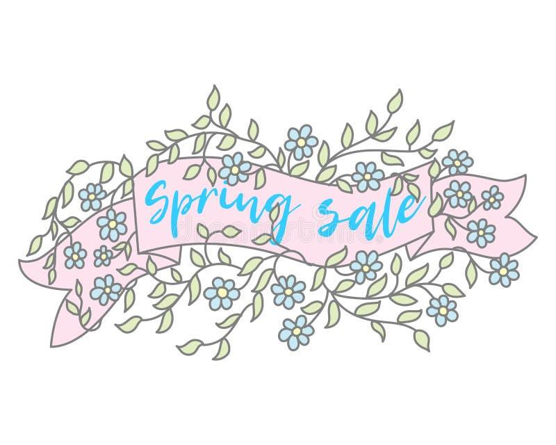 Progettazione di vendita dell'insegna della primavera Etichetta di vettore di vendita di stagione con il fiore Priorità bassa flo illustrazione vettoriale