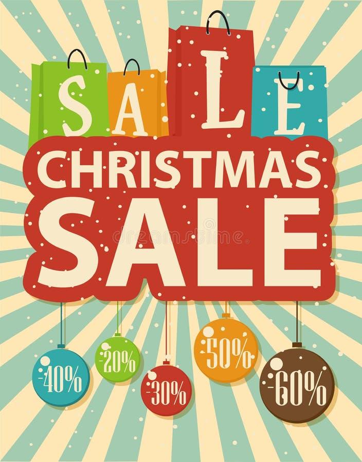 Progettazione di vendita di Natale con le palle di natale e del sacchetto della spesa illustrazione di stock