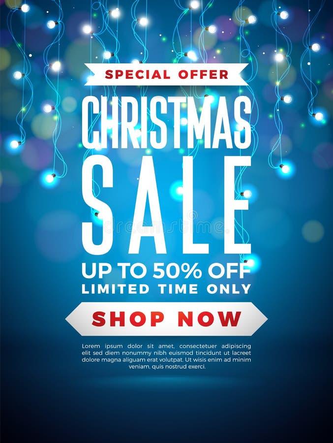 Progettazione di vendita di Natale con la ghirlanda della lampadina ed iscrizione sul fondo blu Illustrazione di vettore di festa illustrazione vettoriale