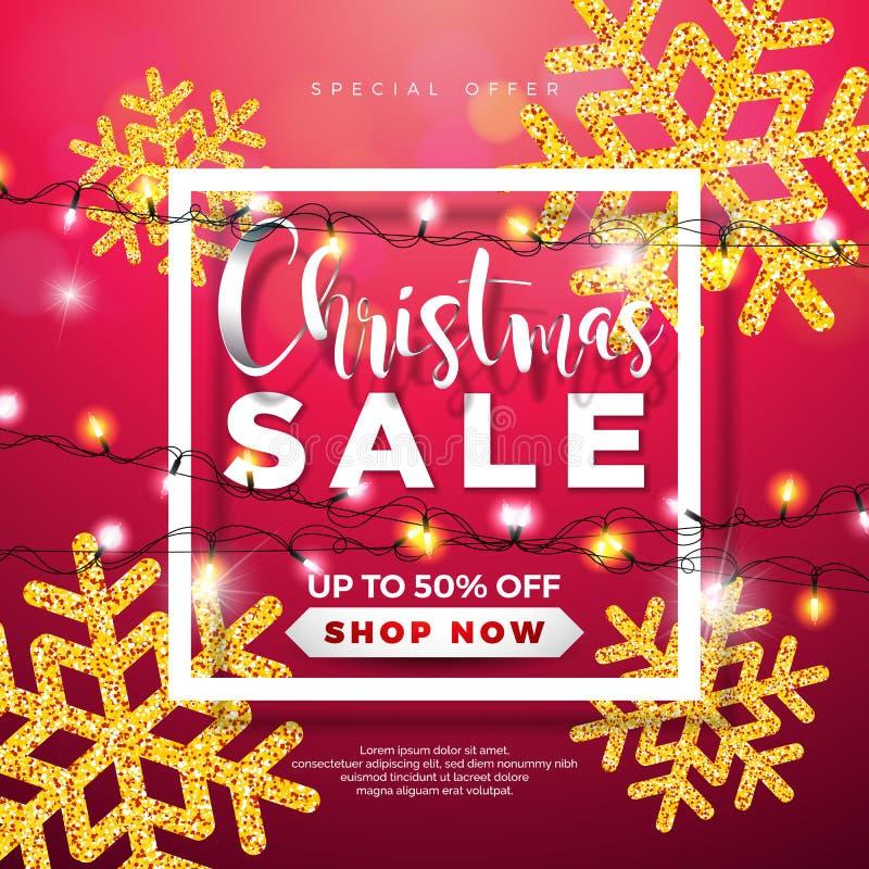 Progettazione di vendita di Natale con la ghirlanda delle luci ed i fiocchi di neve brillati su fondo rosso Illustrazione di vett illustrazione vettoriale