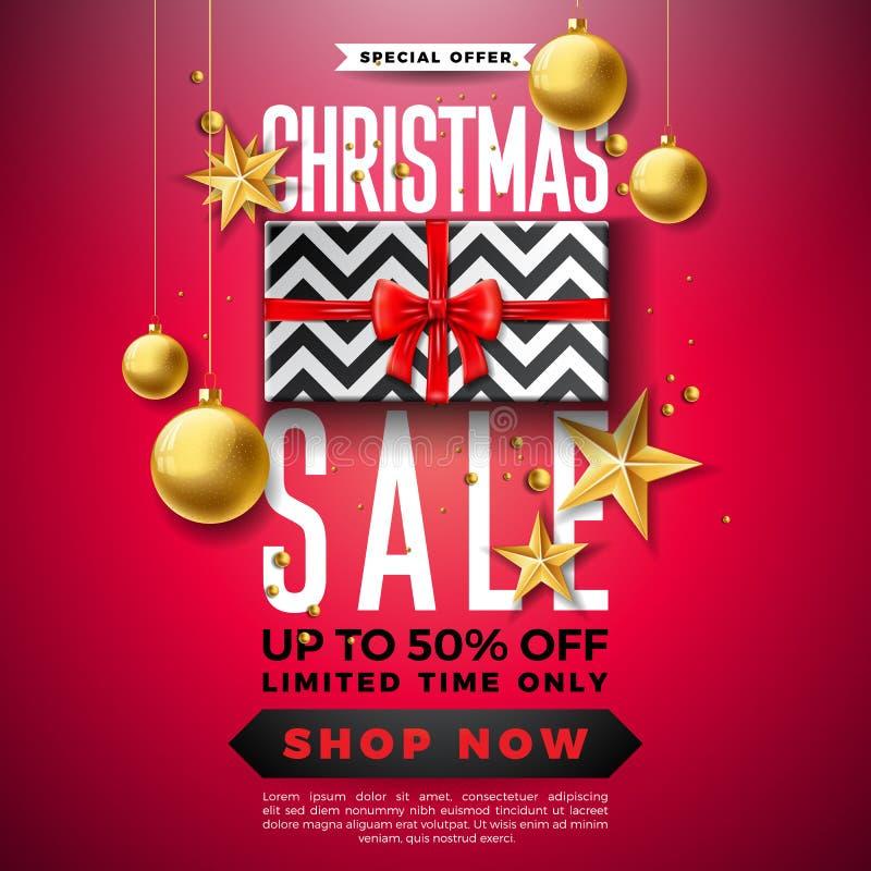 Progettazione di vendita di Natale con la scatola ornamentale di regalo e della palla su fondo rosso Illustrazione di vettore di  illustrazione di stock