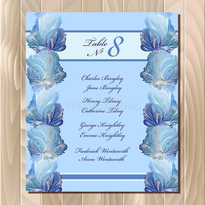 Progettazione di vetro congelata inverno della lista dell'ospite della Tabella Modello di progettazione di nozze illustrazione di stock