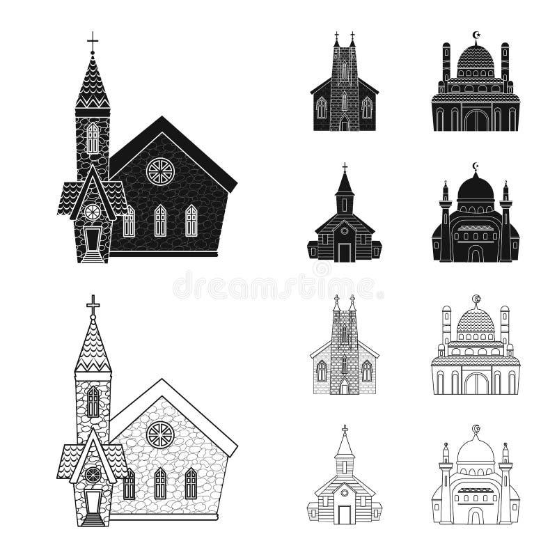 Progettazione di vettore di culto e del logo del tempio Raccolta di culto e dell'illustrazione di vettore delle azione della parr royalty illustrazione gratis