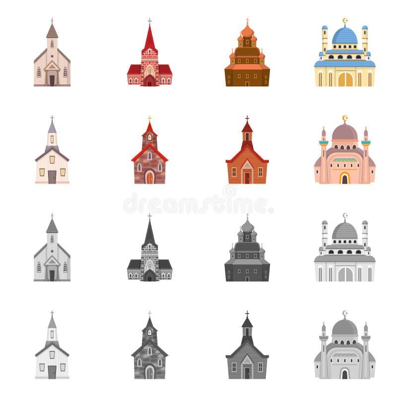 Progettazione di vettore di culto e del segno del tempio Raccolta di culto ed icona di vettore della parrocchia per le azione illustrazione di stock