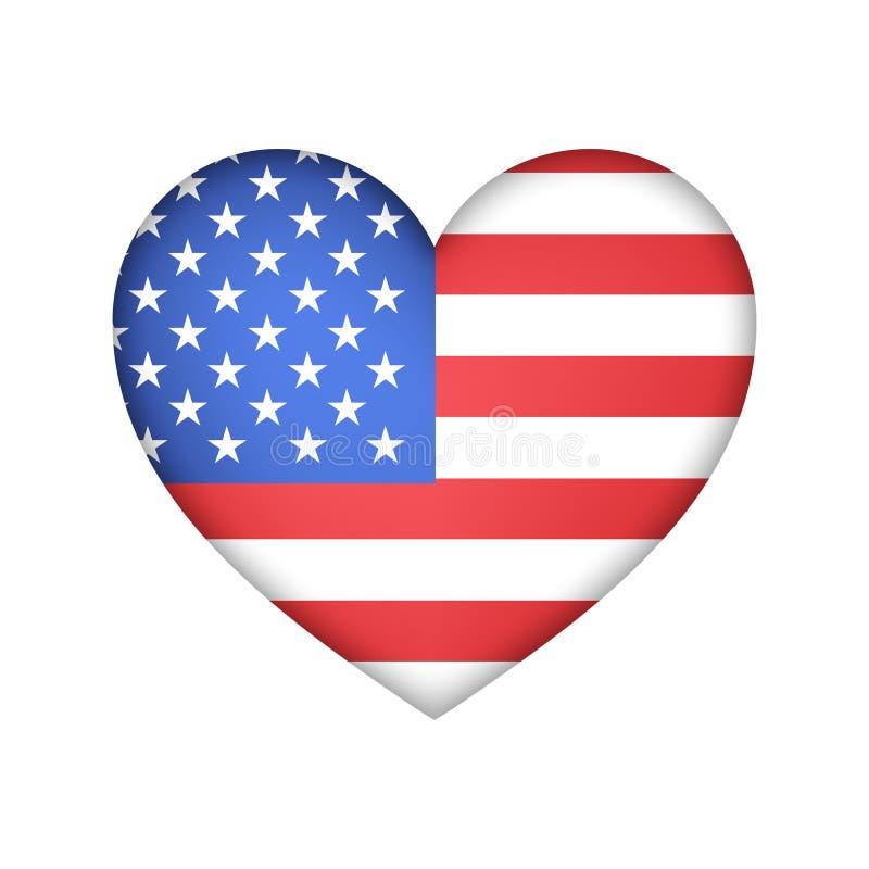 Progettazione di vettore degli S.U.A. della bandiera del cuore illustrazione vettoriale