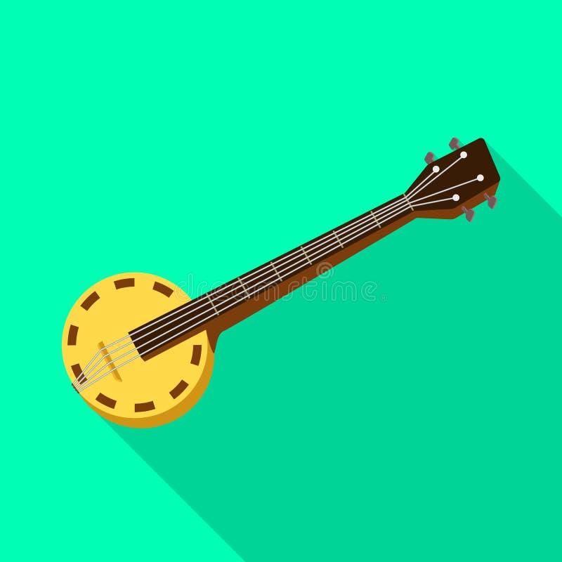 Progettazione di vettore del banjo e del logo musicale Raccolta del banjo ed icona tradizionale di vettore per le azione illustrazione vettoriale