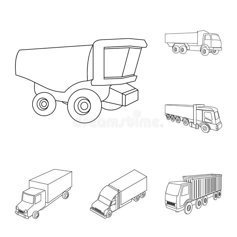 Progettazione di vettore del camion e del logo di spedizione Metta dell'icona di vettore del contenitore e del camion per le azio illustrazione di stock