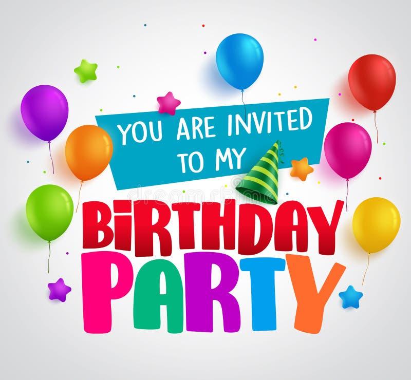 Progettazione di vettore del fondo dell'invito della festa di compleanno con i saluti royalty illustrazione gratis
