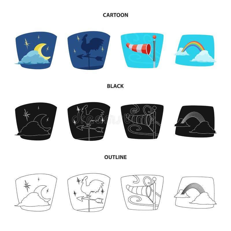 Progettazione di vettore del logo di clima e del tempo Insieme dell'icona di vettore della nuvola e del tempo per le azione royalty illustrazione gratis
