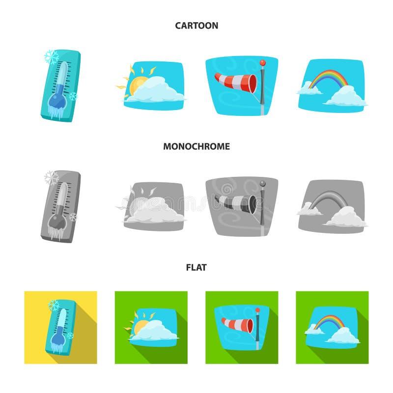 Progettazione di vettore del logo di clima e del tempo Raccolta del simbolo di riserva della nuvola e del tempo per il web royalty illustrazione gratis
