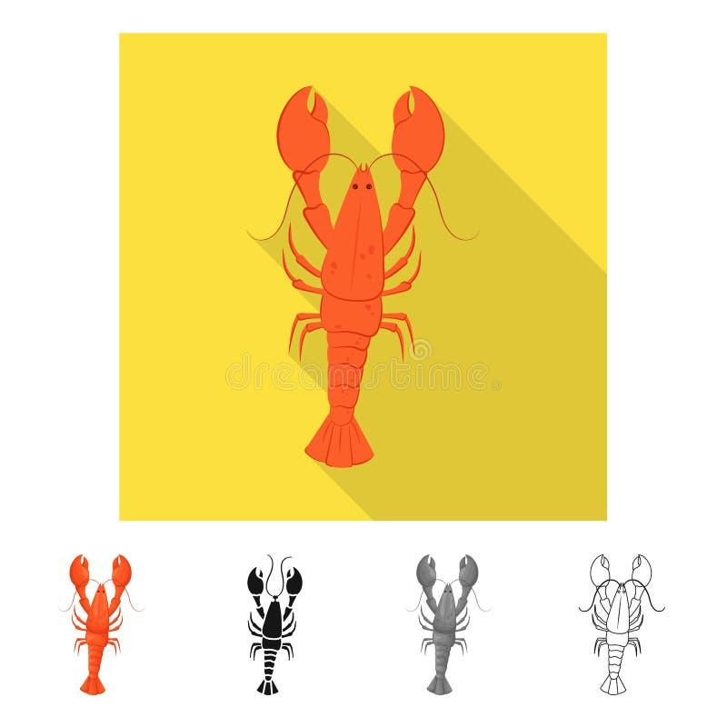 Progettazione di vettore del logo dell'aragosta e del gambero Metta del gambero e del simbolo di riserva bollito per il web royalty illustrazione gratis