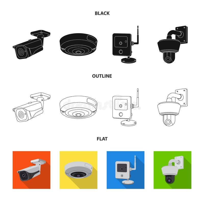 Progettazione di vettore del logo della macchina fotografica e del cctv Insieme del cctv ed icona di vettore del sistema per le a illustrazione vettoriale