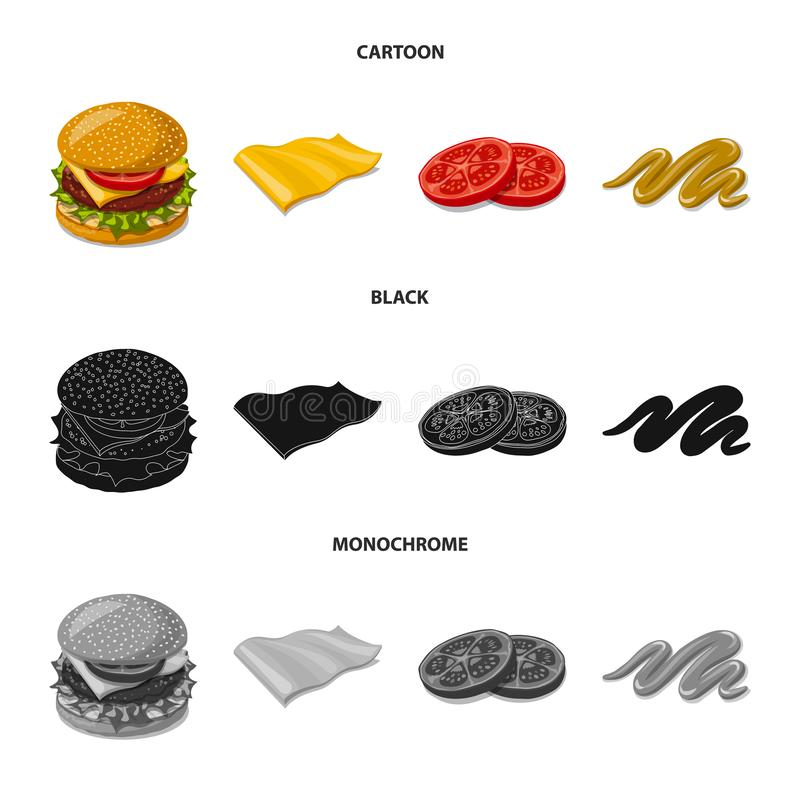 Progettazione di vettore del logo del panino e dell'hamburger Raccolta del simbolo di riserva della fetta e dell'hamburger per il illustrazione di stock