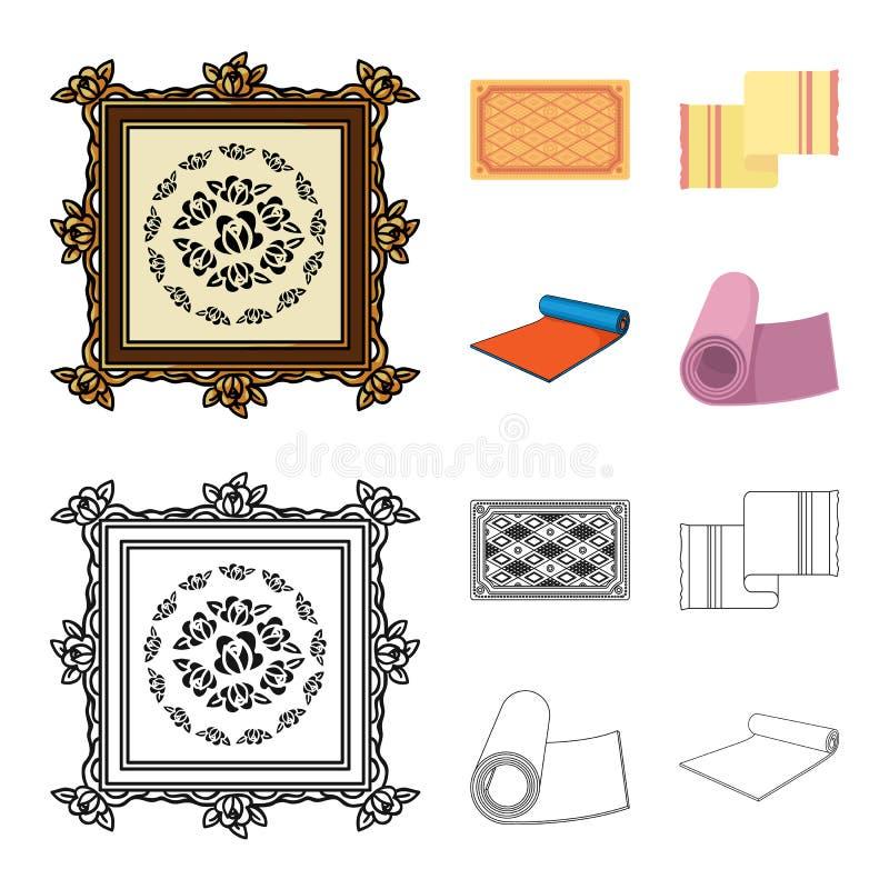 Progettazione di vettore del logo del persiano e del tappeto Metta dell'icona di vettore del confine e del tappeto per le azione illustrazione vettoriale