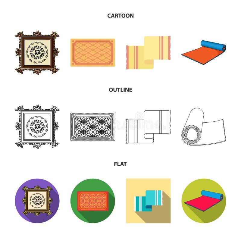 Progettazione di vettore del logo del persiano e del tappeto Raccolta del simbolo di riserva del confine e del tappeto per il web illustrazione vettoriale