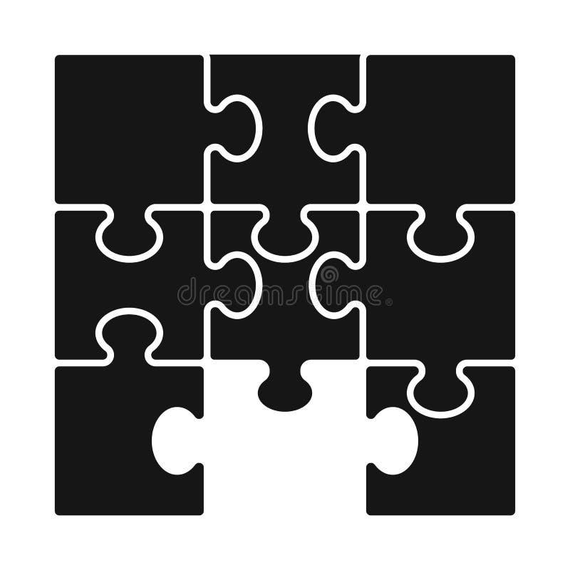 Progettazione di vettore del logo del puzzle e del gioco Metta dell'icona di vettore del pezzo e del gioco per le azione illustrazione vettoriale