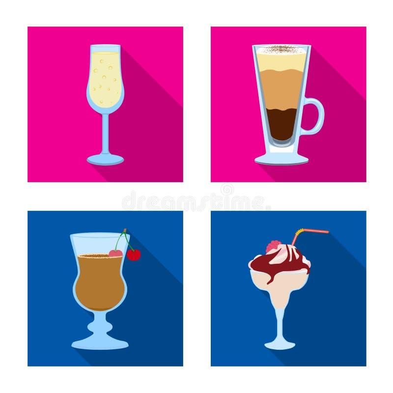 Progettazione di vettore del logo del ristorante e del liquore Raccolta dell'icona di vettore dell'ingrediente e del liquore per  illustrazione di stock