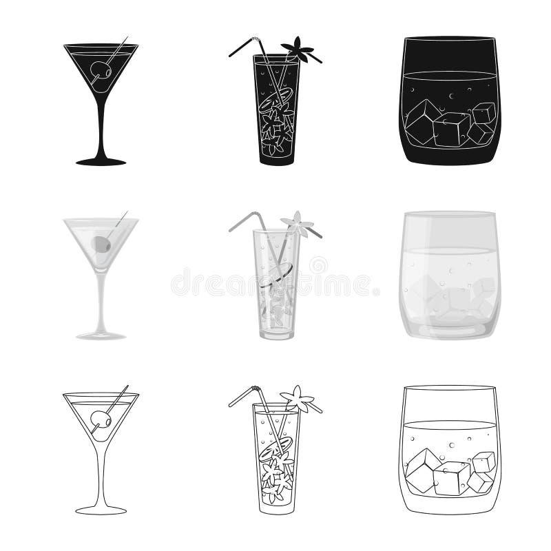 Progettazione di vettore del logo del ristorante e del liquore Raccolta dell'icona di vettore dell'ingrediente e del liquore per  illustrazione vettoriale