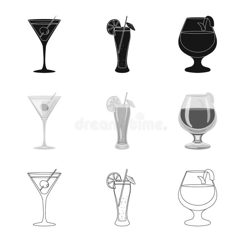 Progettazione di vettore del logo del ristorante e del liquore Raccolta dell'illustrazione di vettore delle azione dell'ingredien illustrazione di stock