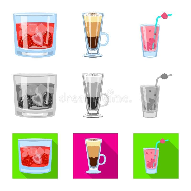Progettazione di vettore del logo del ristorante e del liquore Raccolta del simbolo di riserva dell'ingrediente e del liquore per illustrazione vettoriale