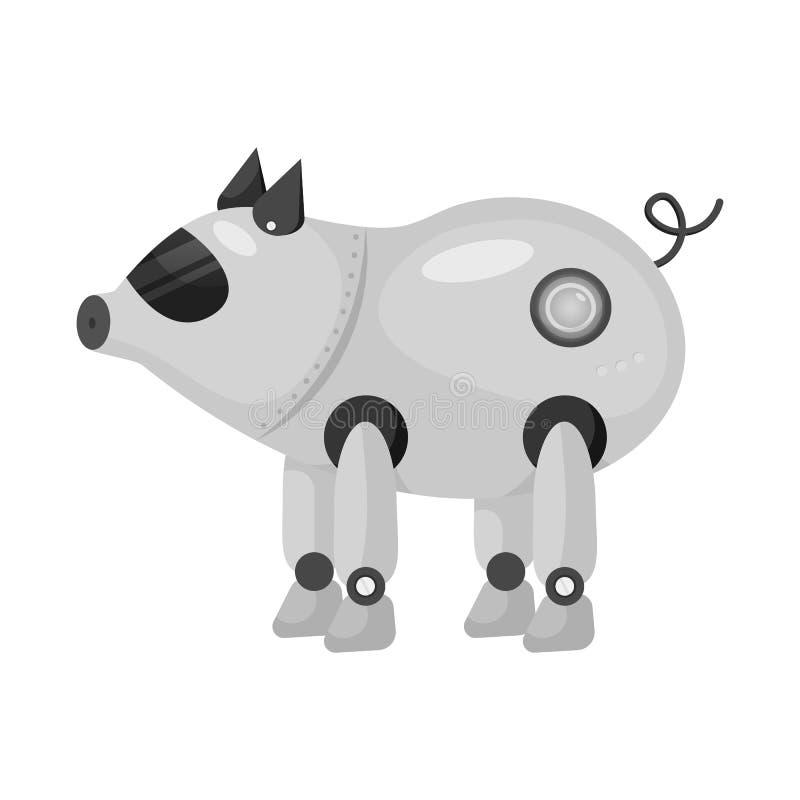 Progettazione di vettore del maiale e del segno robot Metta del maiale e dell'icona di vettore di cibernetica per le azione illustrazione di stock