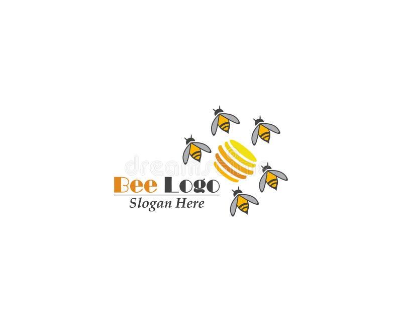 Progettazione di vettore del modello dell'icona di logo dell'ape royalty illustrazione gratis