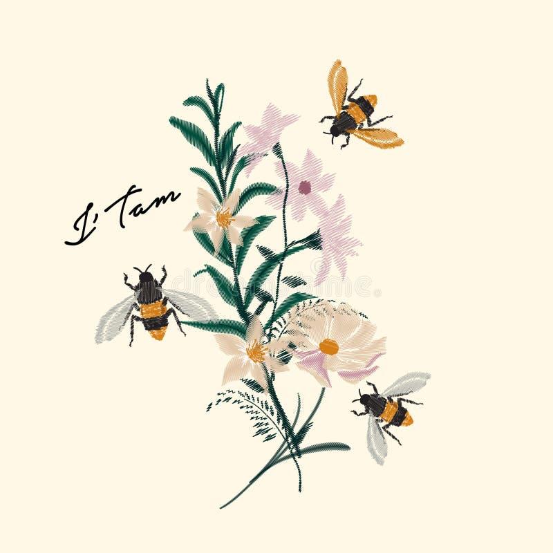 Progettazione di vettore del ricamo del fiore e del bombo, illustrazione di stock