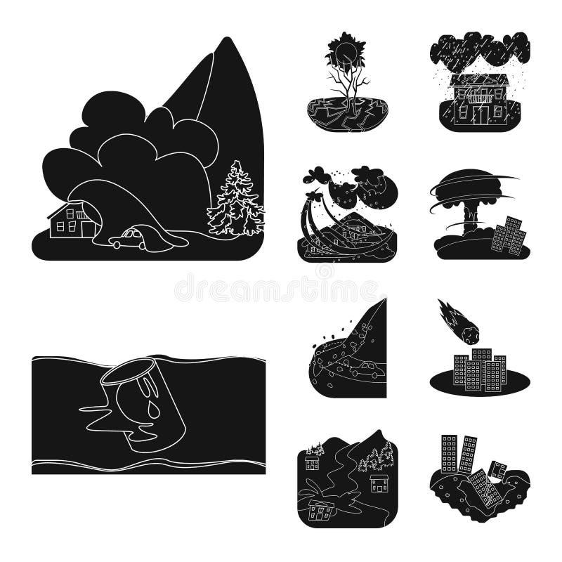 Progettazione di vettore del segno di arresto e di calamità Raccolta dell'illustrazione di vettore delle azione di disastro e di  royalty illustrazione gratis
