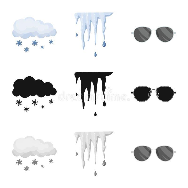 Progettazione di vettore del segno di clima e del tempo Raccolta del simbolo di riserva della nuvola e del tempo per il web royalty illustrazione gratis