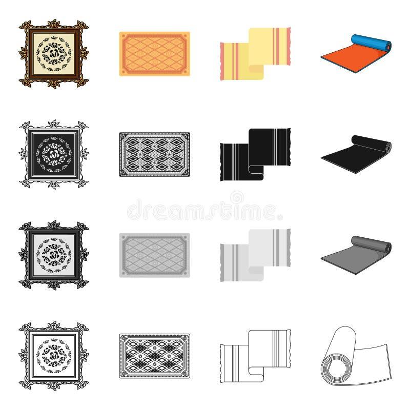 Progettazione di vettore del segno del persiano e del tappeto Metta dell'icona di vettore del confine e del tappeto per le azione royalty illustrazione gratis