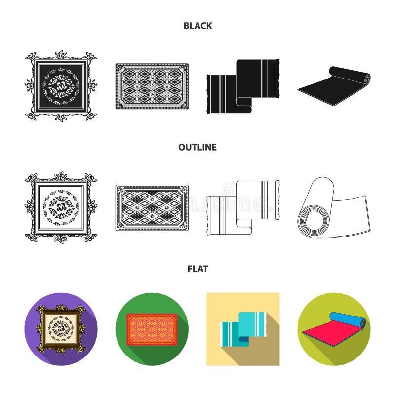 Progettazione di vettore del segno del persiano e del tappeto Raccolta dell'icona di vettore del confine e del tappeto per le azi illustrazione di stock