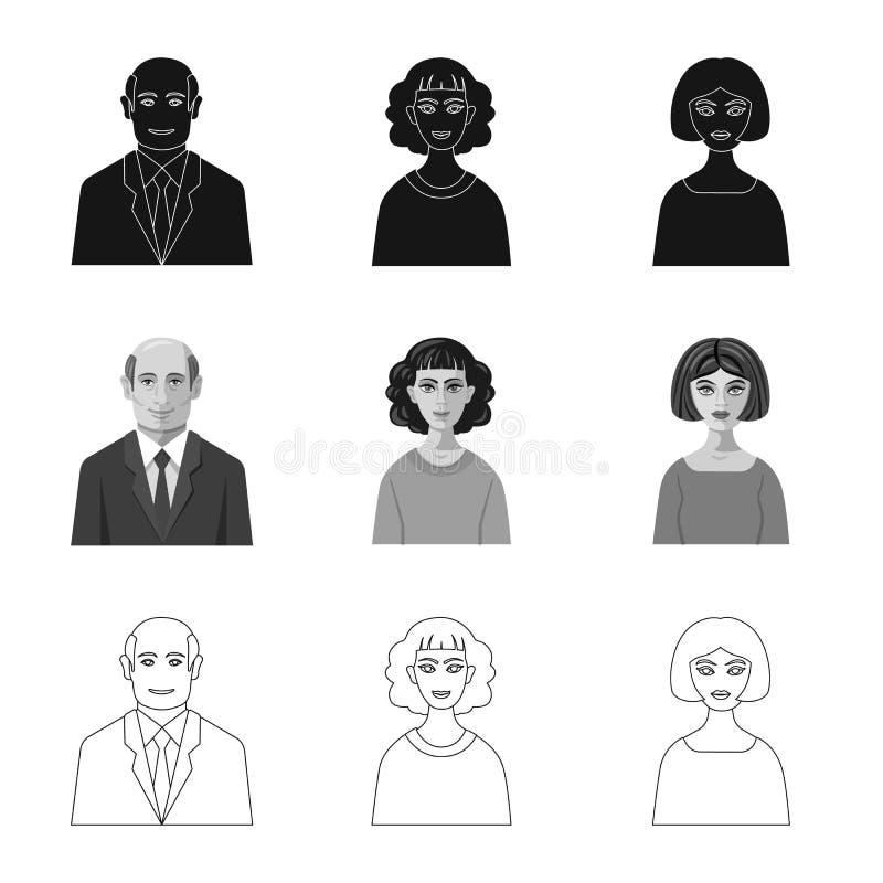 Progettazione di vettore del segno di professione e dell'acconciatura Raccolta dell'icona di vettore del carattere e dell'acconci royalty illustrazione gratis