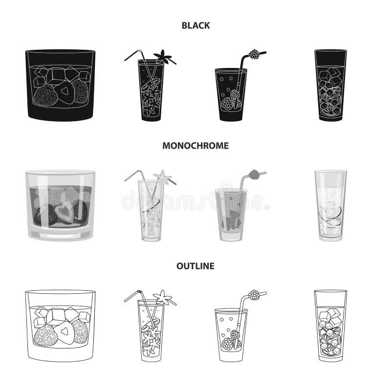 Progettazione di vettore del segno del ristorante e del liquore Metta dell'icona di vettore dell'ingrediente e del liquore per le royalty illustrazione gratis