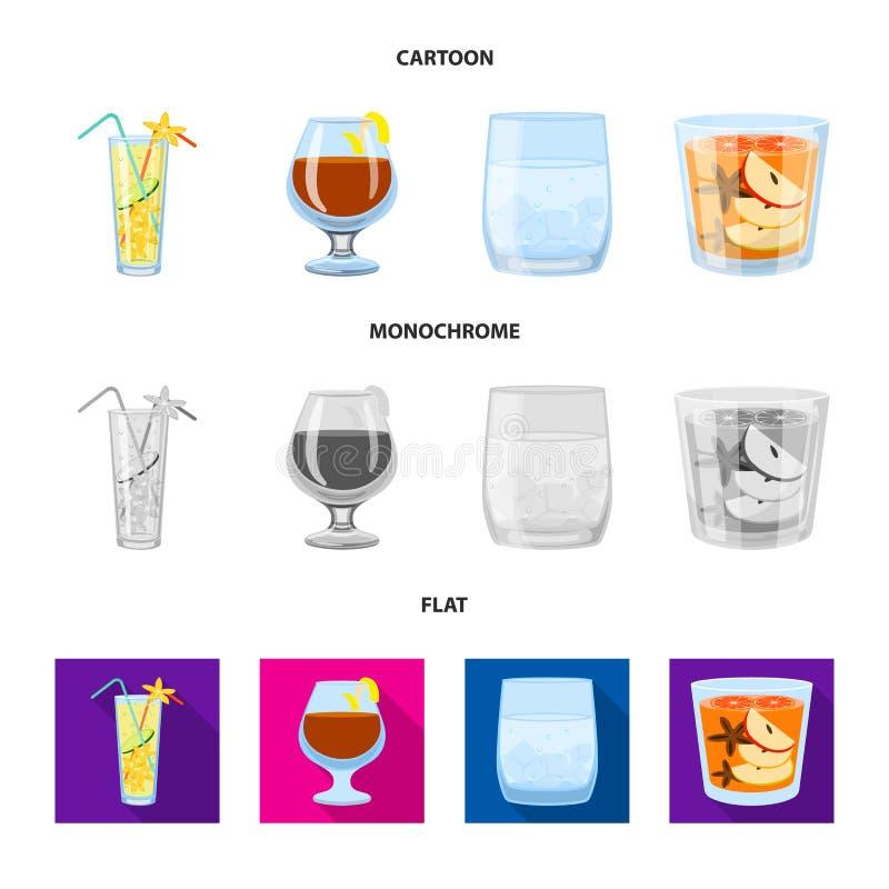 Progettazione di vettore del segno del ristorante e del liquore Metta del simbolo di riserva dell'ingrediente e del liquore per i illustrazione di stock