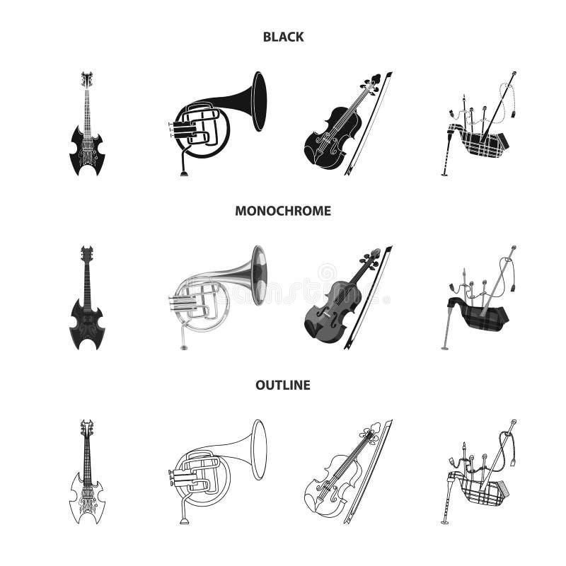 Progettazione di vettore del simbolo di aria e di musica Insieme di musica e del simbolo di riserva dello strumento per il web royalty illustrazione gratis