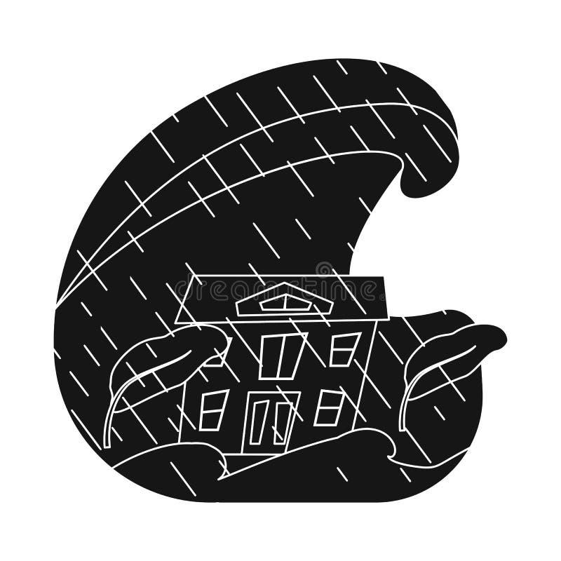 Progettazione di vettore del simbolo di arresto e di calamità Metta dell'illustrazione di vettore delle azione di disastro e di c illustrazione di stock