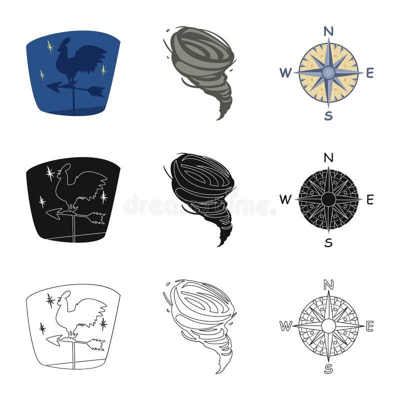 Progettazione di vettore del simbolo di clima e del tempo Insieme dell'illustrazione di riserva di vettore della nuvola e del tem illustrazione di stock
