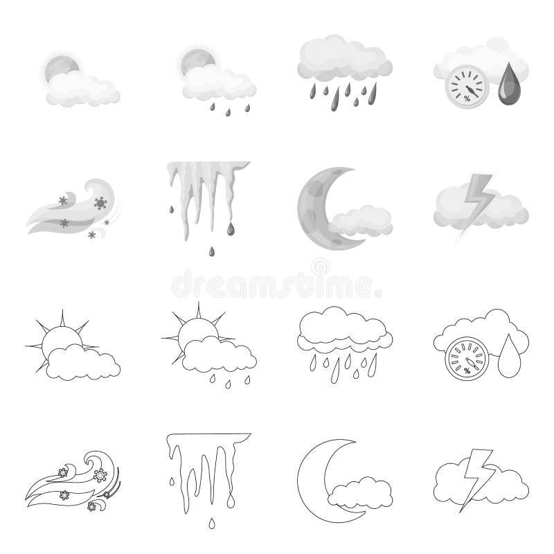 Progettazione di vettore del simbolo di clima e del tempo Insieme del simbolo di riserva della nuvola e del tempo per il web royalty illustrazione gratis